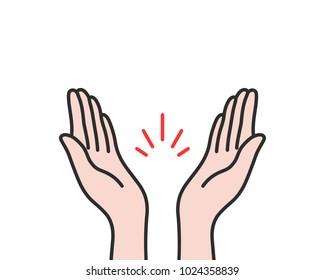 linear applause icon isolated on white. contour flat style minimal logo graphic cartoon art design element. concept of clapping arms like command work and good evaluation or cool assessment