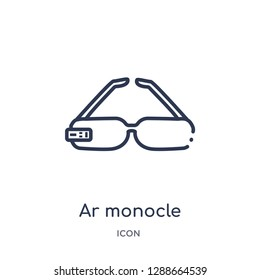 Linear ar monocle icon from Artificial intellegence and future technology outline collection. Thin line ar monocle vector isolated on white background. ar monocle trendy illustration