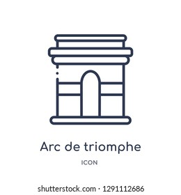 Linear arc de triomphe icon from Buildings outline collection. Thin line arc de triomphe vector isolated on white background. arc de triomphe trendy illustration