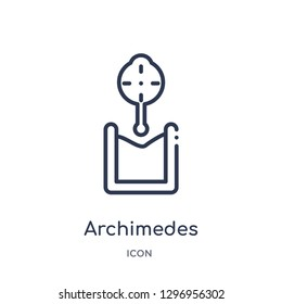 Linear archimedes principle icon from Education outline collection. Thin line archimedes principle icon isolated on white background. archimedes principle trendy illustration