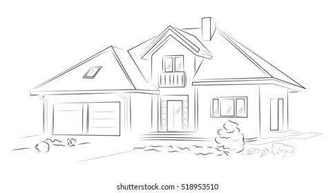 Linear architectural sketch detached house