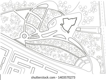 Linear architectural sketch general plan of city park