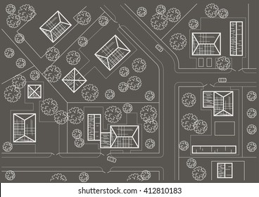 Linear architectural sketch general plan of village on gray background