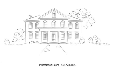 Linear architectural sketch modern detached house. Project of big residence or hotel on white background.