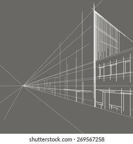 linear architectural sketch perspective of street on gray background