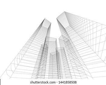 Linear architecture building 3d illustration