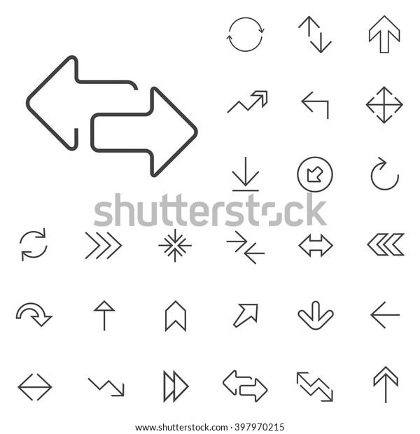 Linear Arrow Icons Set Universal Arrow Stock Vector (Royalty