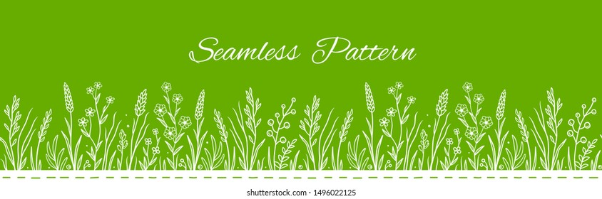 linear art botanic hand drawn seamless pattern with wild herbs leaves and flowers, plants, grass, herbs
