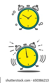 Linear Art of a Clock in Still and Vibrating Modes. Editable Clip Art.