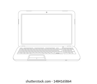 Linear art of laptop, with keyboard and display. Isolated outlines computer mock up