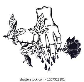 Linear art of a stylized female human hand holding a rose. Gothic woman is bleeding. Sacrifice, sad relationships, painful love and romance. Vintage retro style tattoo. Vector isolated illustration.
