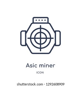 Linear asic miner icon from Electronic devices outline collection. Thin line asic miner icon vector isolated on white background. asic miner trendy illustration