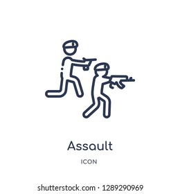 Linear assault icon from Army and war outline collection. Thin line assault vector isolated on white background. assault trendy illustration