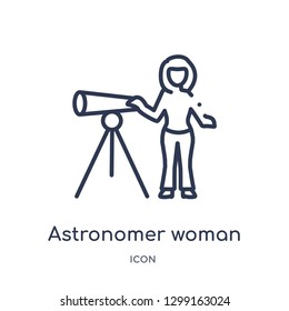 Linear astronomer woman icon from Ladies outline collection. Thin line astronomer woman icon isolated on white background. astronomer woman trendy illustration