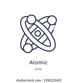 Linear atomic icon from Chemistry outline collection. Thin line atomic vector isolated on white background. atomic trendy illustration