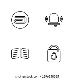 Linear Attach, Open Book, Alarm, Unblocked Vector Illustration Of 4 outline Icons. Editable Pack Of Attach, Open Book, Alarm, Unblocked