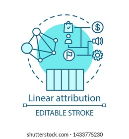 Linear attribution blue concept icon. Multi-touch attribution model idea thin line illustration. Attribution modeling type. Marketing campaign analyze. Vector isolated outline drawing. Editable stroke