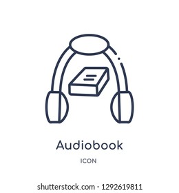 Linear audiobook icon from Education outline collection. Thin line audiobook icon vector isolated on white background. audiobook trendy illustration