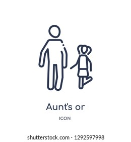 Linear aunt's or uncle's child icon from Family relations outline collection. Thin line aunt's or uncle's child icon vector isolated on white background. aunt's or uncle's child trendy illustration