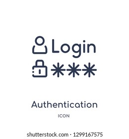 Linear authentication icon from Internet security and networking outline collection. Thin line authentication icon isolated on white background. authentication trendy illustration