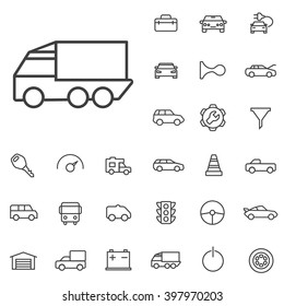 Linear auto icons set. Universal auto icon to use in web and mobile UI, auto basic UI elements set