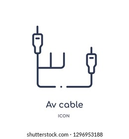 Linear av cable icon from Electronics outline collection. Thin line av cable icon isolated on white background. av cable trendy illustration