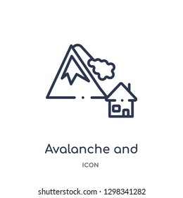 Linear avalanche and house icon from Meteorology outline collection. Thin line avalanche and house icon isolated on white background. avalanche and house trendy illustration