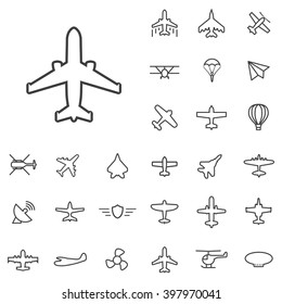 Linear aviation icons set. Universal aviation icon to use in web and mobile UI, aviation basic UI elements set