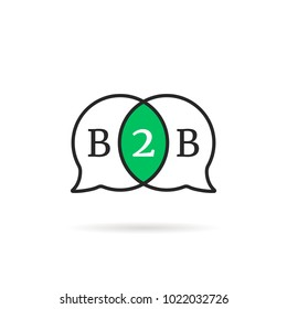 linear b2b speech bubble icon. simple flat trend modern b2c graphic art design isolated on white background. concept of agreement or contract between businessmen and social collaboration
