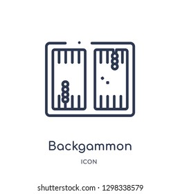 Linear backgammon icon from Gaming outline collection. Thin line backgammon icon isolated on white background. backgammon trendy illustration
