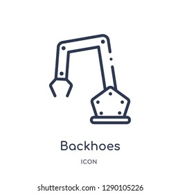 Linear backhoes icon from Construction outline collection. Thin line backhoes vector isolated on white background. backhoes trendy illustration