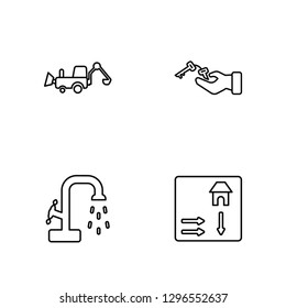 Linear Backhoes, Stopcock, Key, House Plan Vector Illustration Of 4 outline Icons. Editable Pack Of Backhoes, Stopcock, Key, House Plan