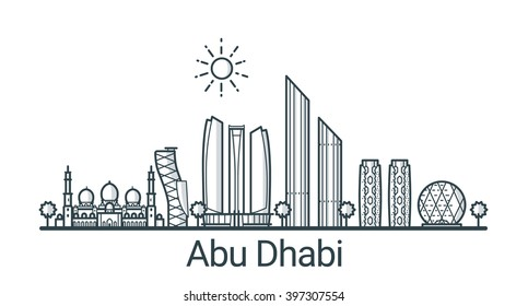 Linear banner of Abu Dhabi city. All buildings - customizable different objects with background fill, so you can change composition for your project. Line art.