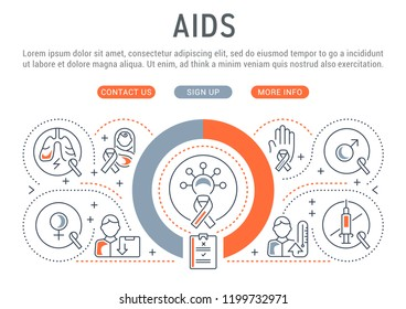 linear banner of aids  vector illustration of hiv infection and its  consequences  aids prevention