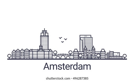 Linear banner of Amsterdam city. Customizable objects with opacity mask, so you can change composition and background fill. Line art.