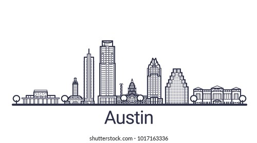Linear banner of Austin city. All buildings - customizable different objects with clipping mask, so you can change background and composition. Line art.