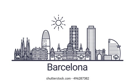 Linear banner of Barcelona city. All Barcelona buildings - customizable objects with opacity mask, so you can simple change composition and background fill. Line art.