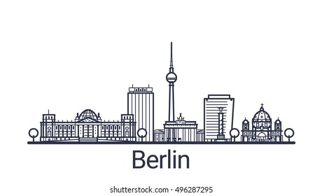 Linear banner of Berlin city. Customizable objects with opacity mask, so you can change composition and background fill. Line art.