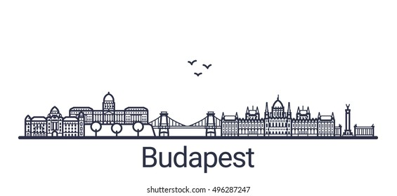 Linear banner of Budapest city. Customizable objects with opacity mask, so you can change composition and background fill. Line art.