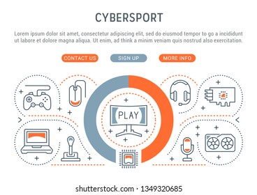 Linear banner of the cybersport. Vector linear icons for web sites and applications.