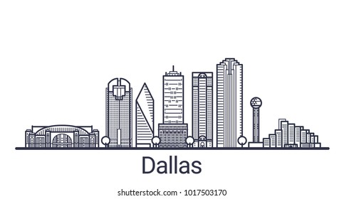 Linear banner of Dallas city. All buildings - customizable different objects with clipping mask. Line art.