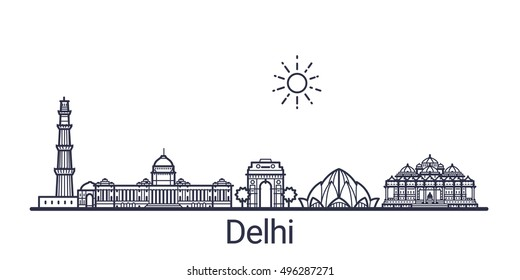 Linear banner of Delhi city. All Delhi buildings - customizable objects with opacity mask, so you can simple change composition and background fill. Line art.