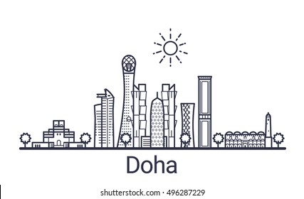 Linear banner of Doha city. All Doha buildings - customizable objects with opacity mask, so you can simple change composition and background fill. Line art.