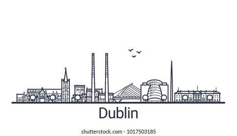 Linear banner of Dublin city. All buildings - customizable different objects with clipping mask. Line art.