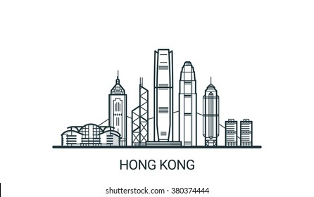 Linear banner of Hong Kong city. All buildings - customizable different objects with background fill, so you can change composition for your project. Line art.