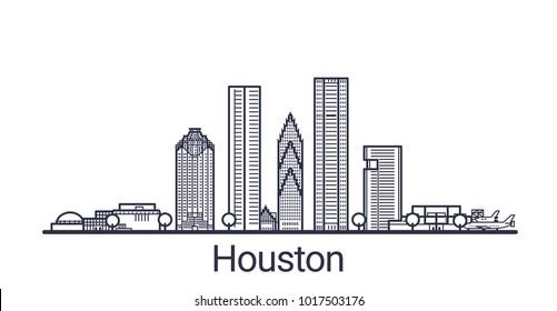 Linear banner of Houston city. All buildings - customizable different objects with clipping mask. Line art.