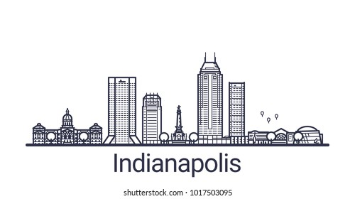 Linear banner of Indianapolis city. All buildings - customizable different objects with clipping mask. Line art.