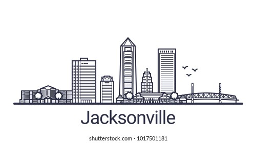 Linear banner of Jacksonville city. All buildings - customizable different objects with clipping mask, so you can change background and composition. Line art.