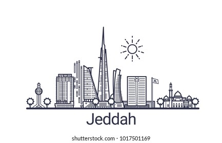 Linear banner of Jeddah city. All buildings - customizable different objects with clipping mask, so you can change background and composition. Line art.