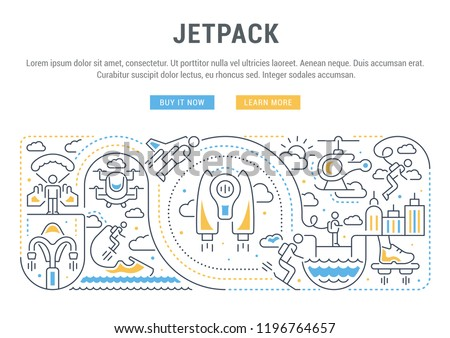 Linear Banner Jetpack Vector Illustration Technology Stock Vector